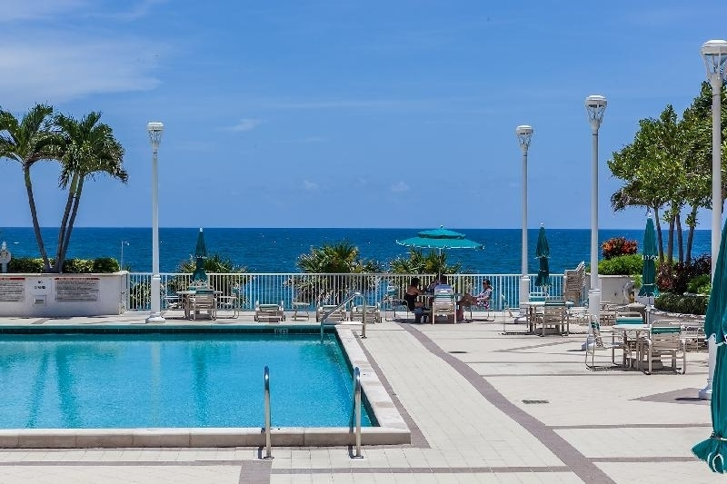 Enjoy a more peaceful swim while you overlook the ocean's clear, blue waters.
